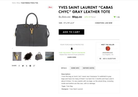 Tradesy product page