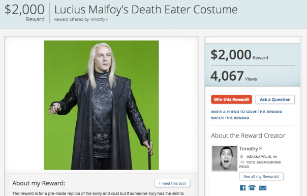 Rewarder screen shot Lucius Malfoy Death Eater costume request
