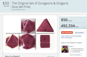 Dungeons and Dragons dice on Rewarder