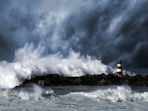 Lighthouse, waves, hurricane
