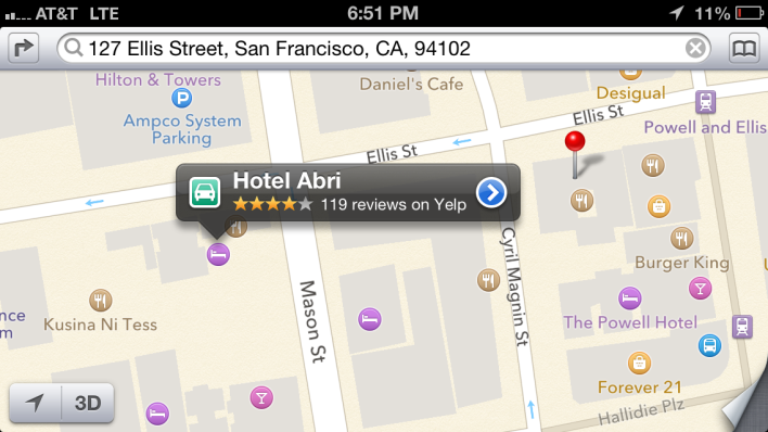 See that red pin? That's the actual location of Hotel Abri. But Yelp places it a block and half further west on Apple Maps.