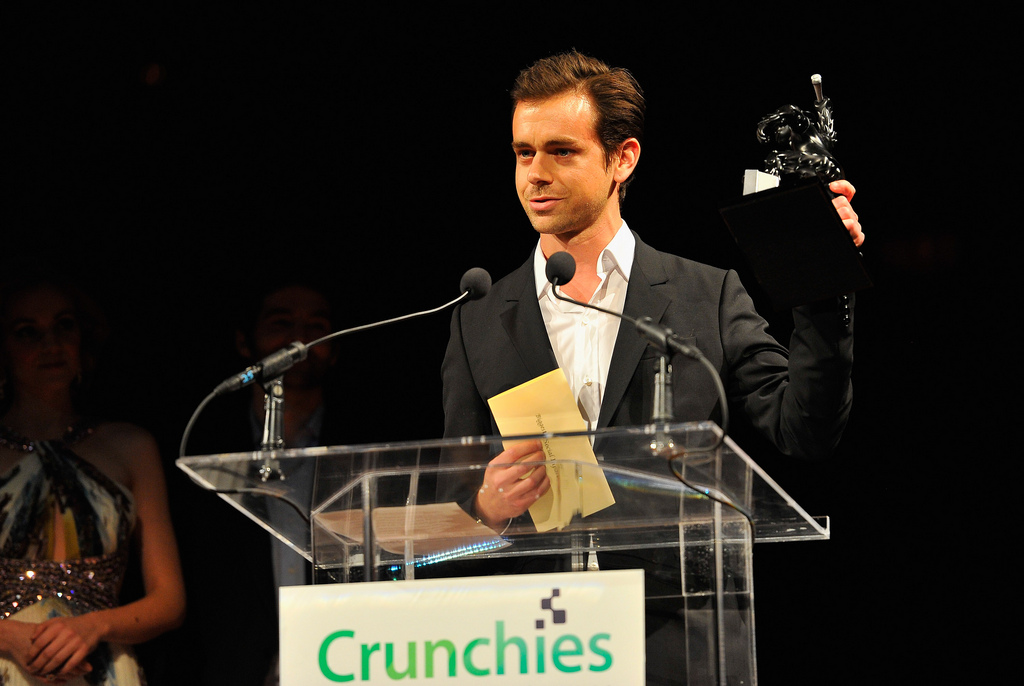 Jack Dorsey accepts the 2011 Crunchies award for Founder of the Year, January 2012