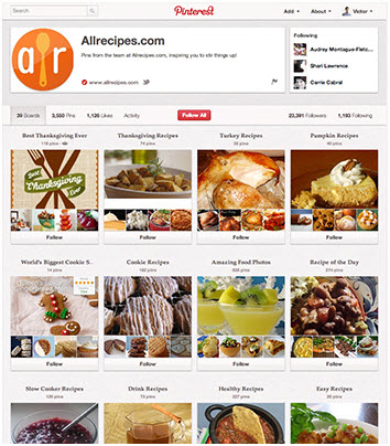 All Recipes Pinterest business page