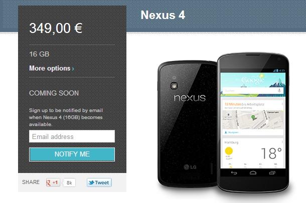 Nexus 4 'Coming soon'