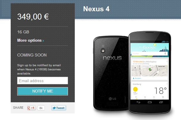 Nexus 4 'Coming soon'