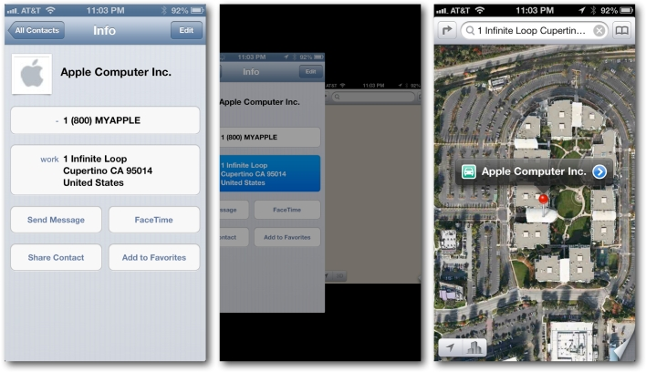 Contacts to Apple Maps app