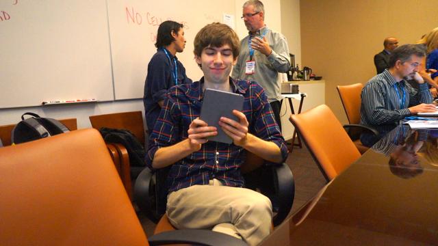 David Karp, CEO of Tumblr with his new iPad Mini