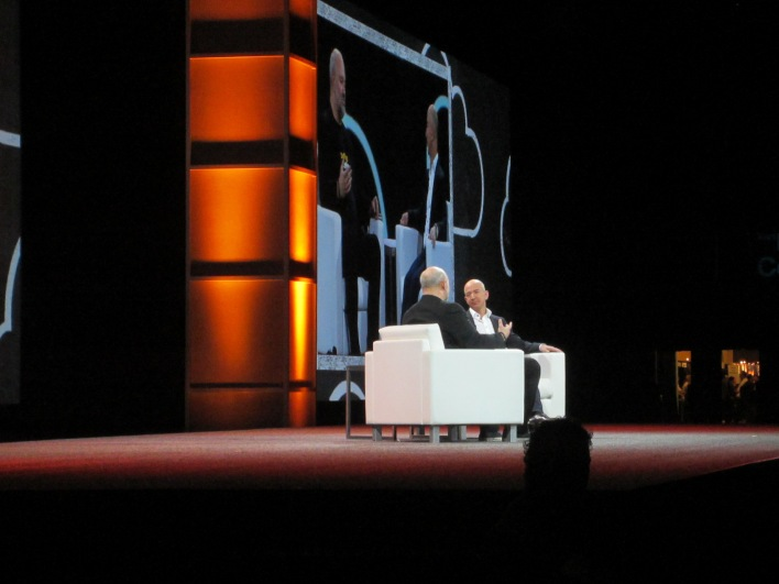 Amazon CTO Werner Vogels and CEO Jeff Bezos chat on stage at AWS: Reinvent