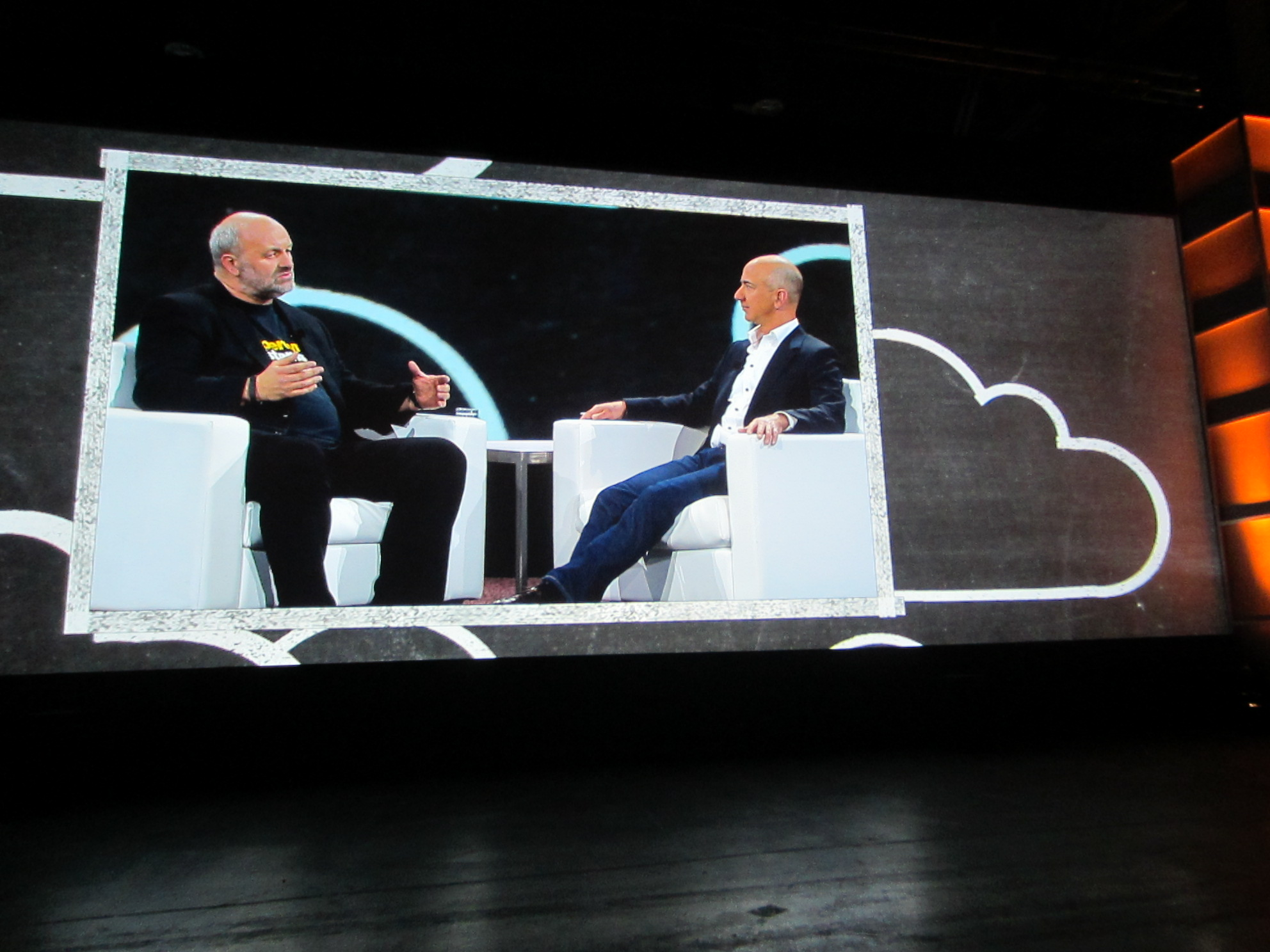 Amazon CTO Werner Vogels and CEO Jeff Bezos on stage at AWS: Reinvent