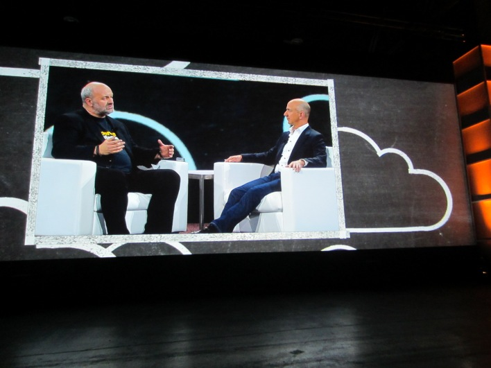 Amazon CTO Werner Vogels and CEO Jeff Bezos on stage at AWS Re:invent