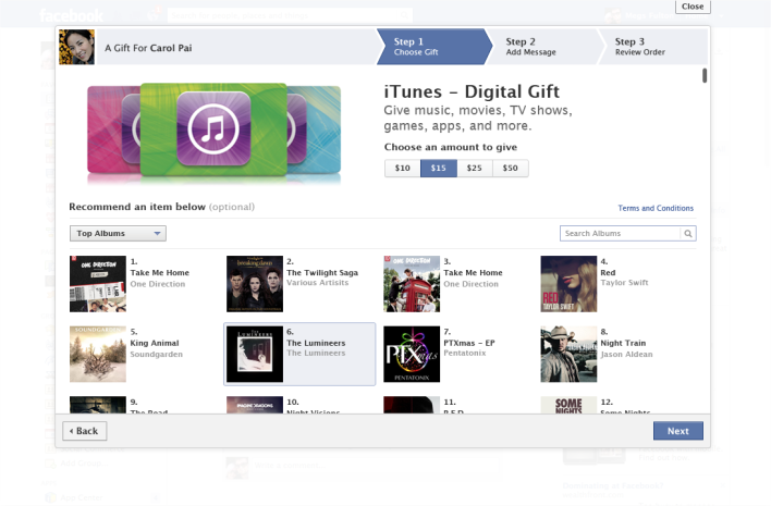 iTunes gifts platform Facebook Apple