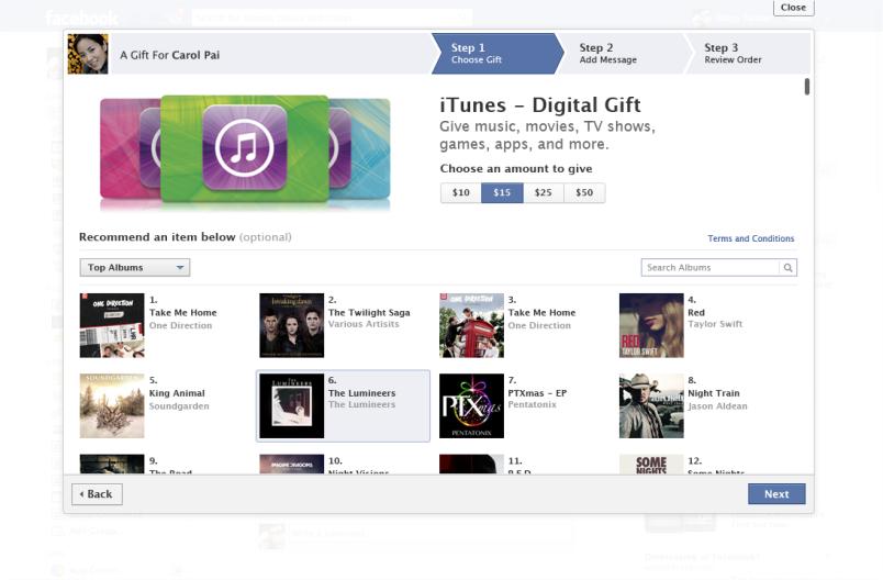 iTunes gifts platform Facebook Apple