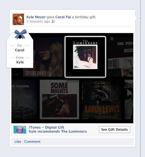 iTunes timeline gifts platform Facebook Apple