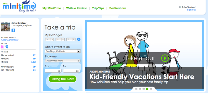 MiniTime kid booking vacation family-friendly site