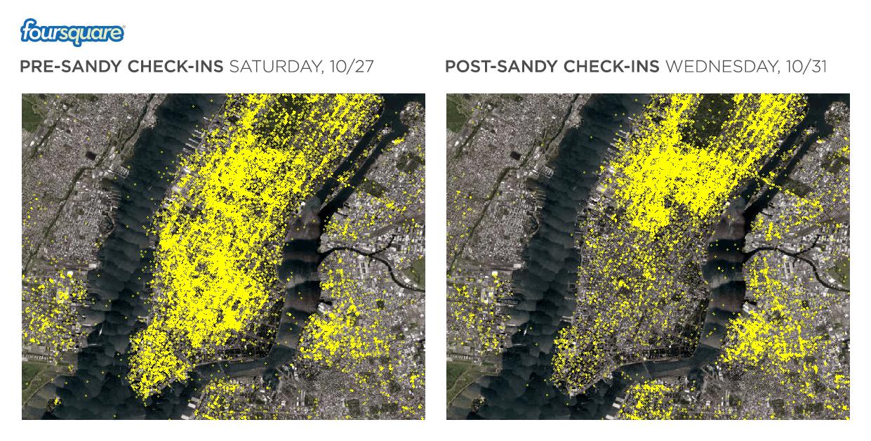 Foursquare, Hurricane Sandy