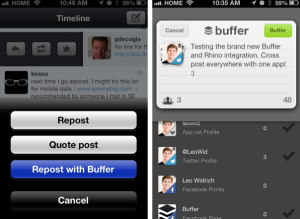Buffer Twitter scheduling integration screenshot