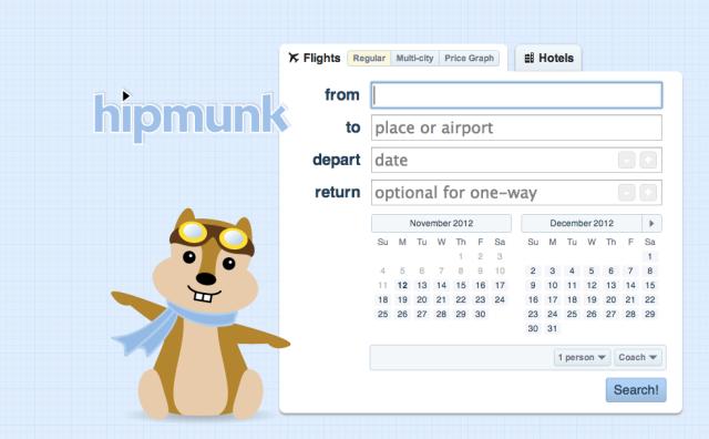 Hipmunk homepage bookings listings