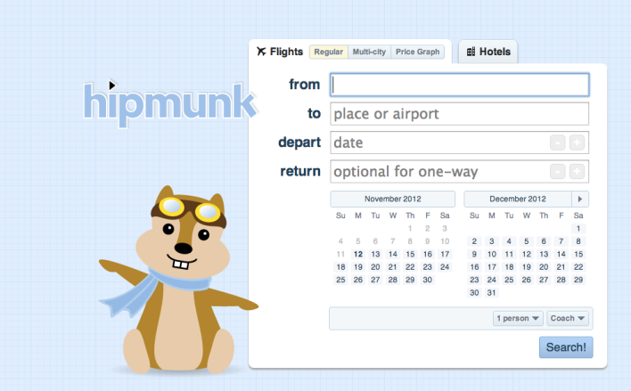 Hipmunk homepage bookings listings