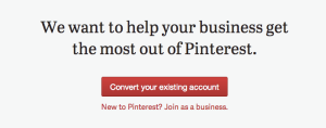 Pinterest courting businesses screenshot
