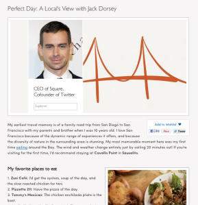 Jack Dorsey perfect day Peek travel site