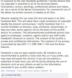Facebook copyright notice (fake)