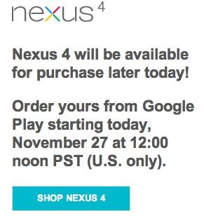 Nexus 4 ordering