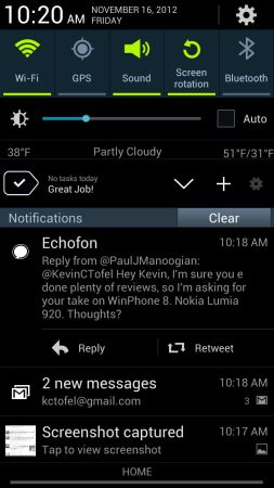 Echofon for Android notification