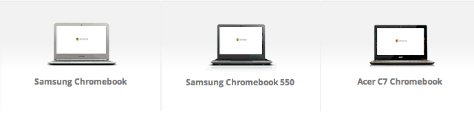 Three Google Chromebooks