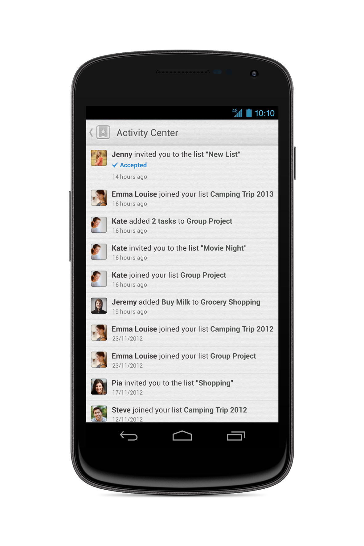 Wunderlist 2 Activity Center