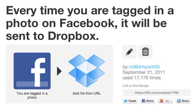 dropbox facebook IFTT