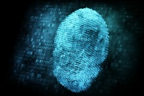 Fingerprint on digital screen, 3d render