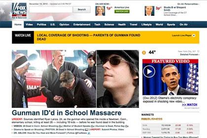 Fox News reports wrong gunman at Sandy Hook school shooting