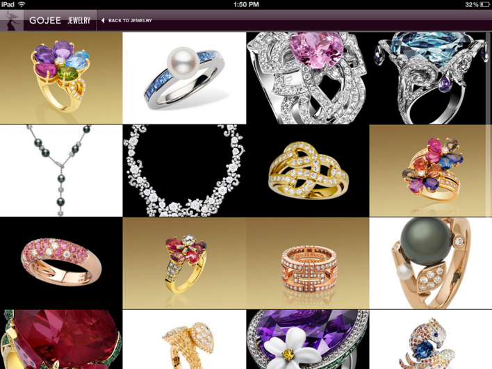 Gojee jewelry iPad screenshot
