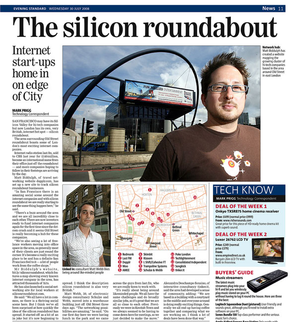 Silicon Roundabout in the Evening Standard, used under CC courtesy of Matt Biddulph