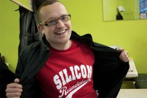 Ben Terrett wearing an ironic Silicon Roundabout T-shirt used under CC license courtesy of Matt Biddulph