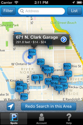 SpotHero iPhone parking app screen