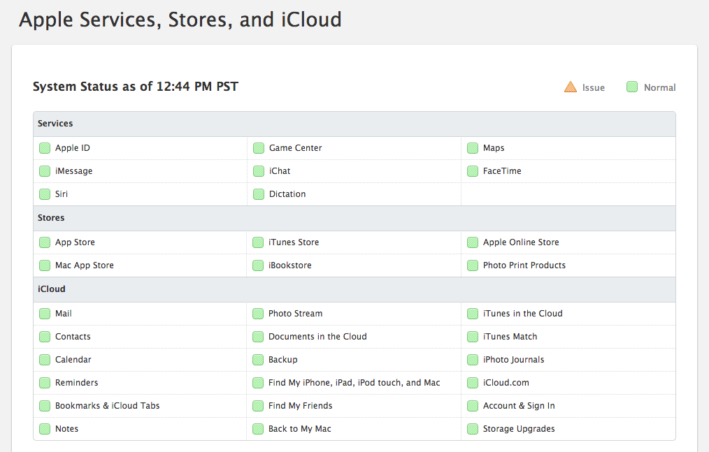 iCloud systems status page