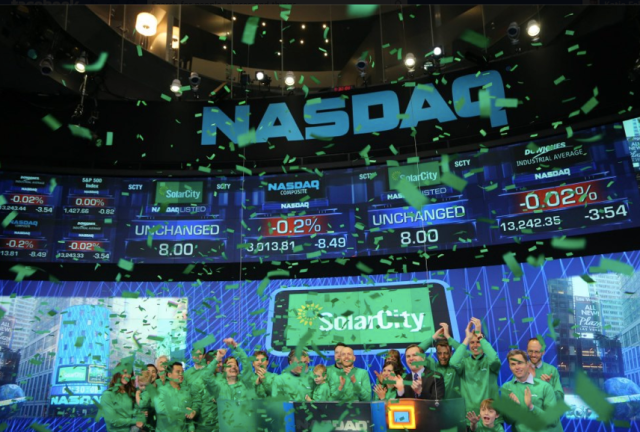 SolarCity going public on the Nasdaq.