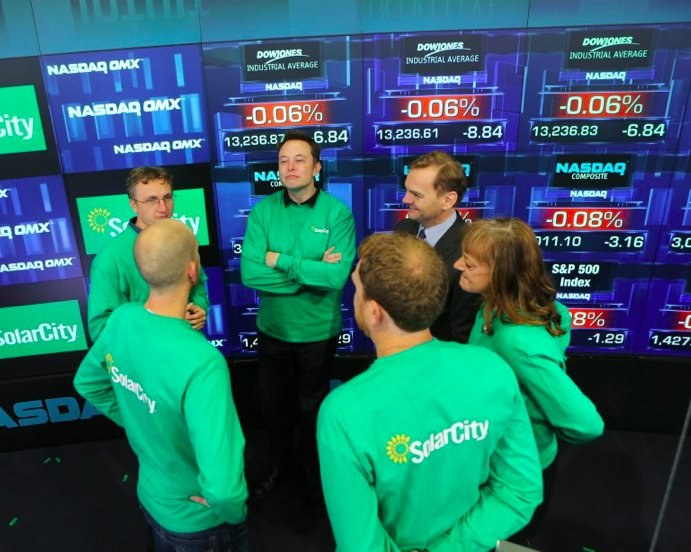 SolarCity at the NASDAQ, image courtesy of NASDAQ.