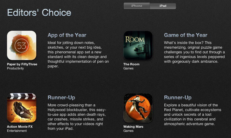 iPad app of the year 2012