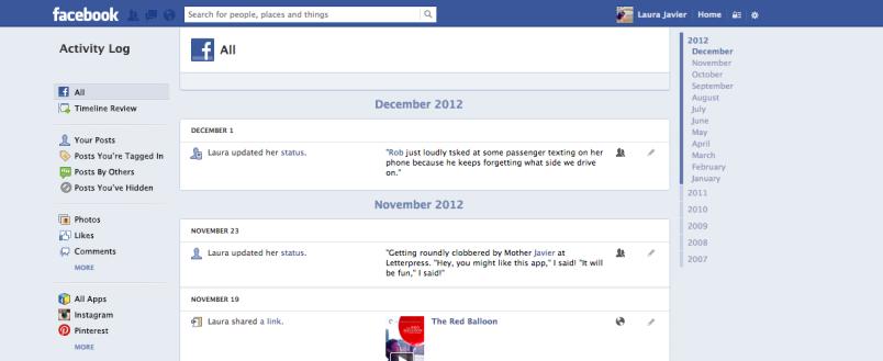 Facebook updated activity log