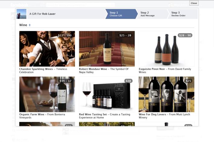 Facebook wine Gifts platform option