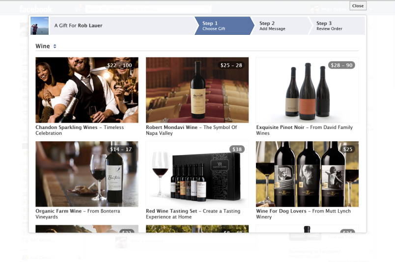 Facebook wine Gifts platform option