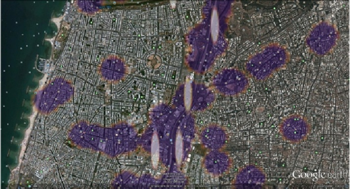 Satellite image from Google Earth combined with accident and police report heatmap - area units with high accident scores (marked as redand white ellipses) and high police scores (marked as purple circles). Source: IEEE 27th Convention of Electrical and Electronics Engineers
