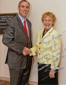Sen. Jeff Merkley of Oregon, left, and Prineville Mayor Betty Roppe