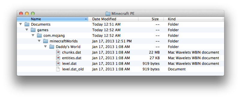 Folder Containing Minecraft Worlds