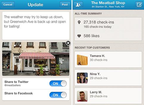 Foursquare small business app screenshot