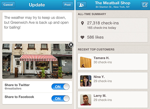 Foursquare small business app screenshot