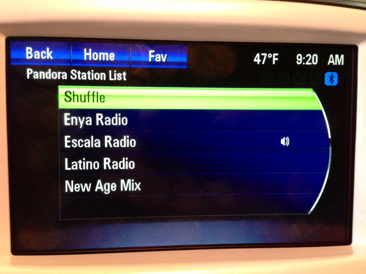 Pandora stations on Volt