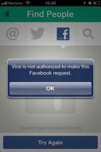 Twitter Vine video Facebook login